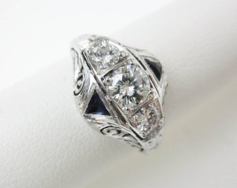 Belais Filigree Ring 18K Engagement Ring 1920s Diamond & Sapphire Ring Art Deco Ring, 1/2CTW .36ct. Central Diamond, Blue Sapphire Trillions