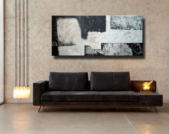 "72"" Original Abstract Acrylic Painting Extra Large Gray Black Mocca Light Brown Wall Art Modern Art Decor UNSTRETCHED Auxxl028"