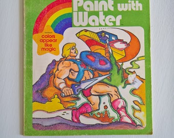 Vintage He-Man Masters of the Universe Paint with Water Coloring Book - Retro 1980's Kids Craft Mattel Pop Culture Adventure Hero Home Decor