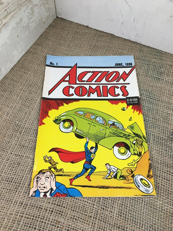 Action Comics issue 1 reprint from 1992, DC comic book original reprint, As seen on Big Bang Theory, comic book reprint, issue one reprint