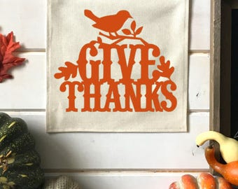 Give Thanks Fall Banner; Fall Home Decor; Fall Sign; Fall Decoration; Autumn Decor; Fall Leaves