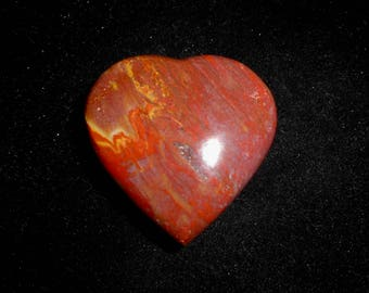 Fossil PETRIFIED WOOD HEART Carving from Madagascar*Red and Yellow Jasper