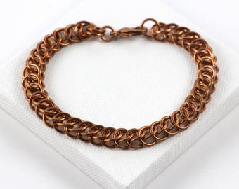 Persian Chainmaille Bracelet   Hand Crafted Chainmaille Jewelry   Handmade Bracelet   Copper Chainmaille