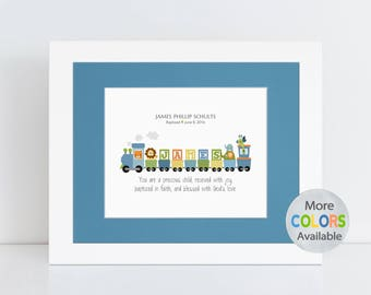 Unique Boy Baptism Gift, Christening Gift, Baby Gift, First Communion Gift. Personalized Train PRINT with your choice of Bible verse