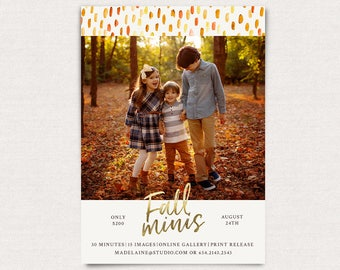Fall Mini Session Template - Photography Marketing board - Fall Minis Psd template - INSTANT DOWNLOAD - Fall Brush Strokes MFS006