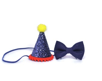 1st Birthday Boy Felt Birthday Hat and Bow Tie set ||  First Birthday Party Hat || First Birthday Hat || Boy  Birthday || Grey and Black