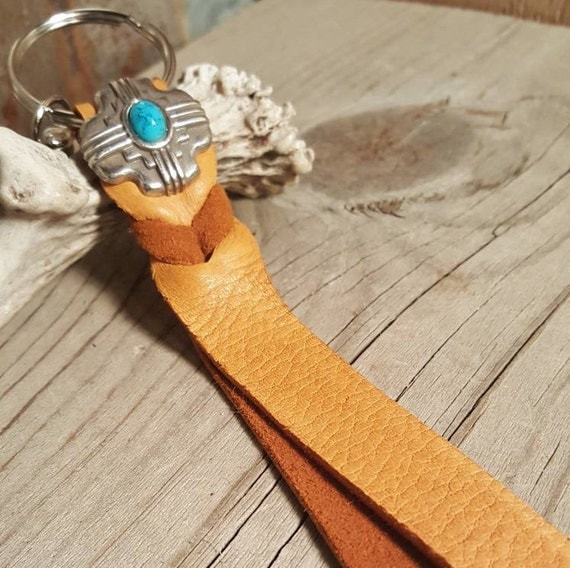 Deer Skin Leather Key Chain with South Western Concho Accent