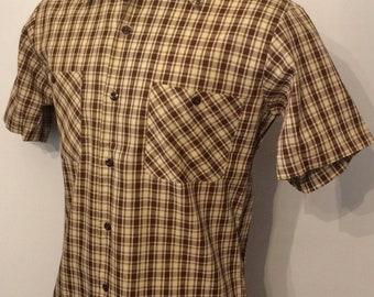 Vintage MENS 1970s Sears Perma Prest short sleeve plaid shirt, size M, dead stock