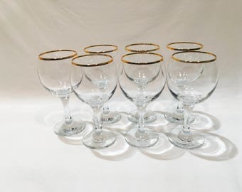 Gold rimmed etsy gold rimmed wine glasses gold cocktail glasses 8 stem glasses wine glasses gumiabroncs Image collections