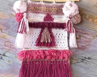Crochet Tapestry. Wall Art. Decor. Pompons and tassels. Fringes.