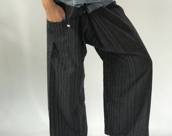2TC0004 Gray Thai Fisherman Pants with Thai hand woven fabric on waist side, Wide Leg pants, Wrap pants, Unisex pants