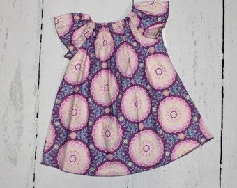 Flutter Sleeve Peasant Dress in Purples, Butterfly Sleeve Dress, Woven Girls Dress