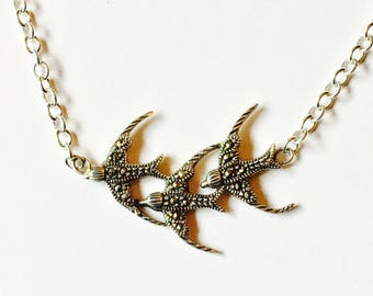 Vintage Silver Triple Three Swallow Necklace 'Fly Away Home'