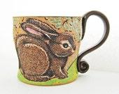 Spring Rabbit Mug, great gift idea, birthday gift, pottery mug, rabbit mug, holds approx. 13 oz, dishwasher and microwave safe.
