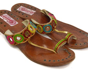 Vintage 70s Chauhan Leather Stores Vadodara Ethnic Sandals Shoes with Heels Sz 9