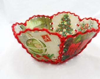 Vintage Christmas Card Bowl Vintage Hand Made Red Stitched Christmas Card Bowl Christmas Decor