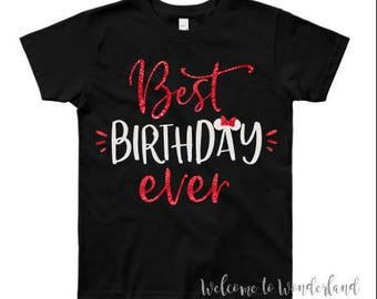 BEST BIRTHDAY EVER Sparkly Glitter Minnie Bow tee tank top shirt top baby kids girls ladies adult women outfit