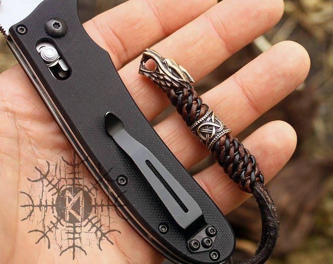 NEW ITEM! ~ Bronze Wolf Head Bead Runes Teiwaz Algiz Handmade Braided Brown & Black Genuine Leather Knife Knot TM1