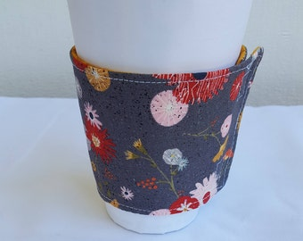 Beverage or Coffee cozy - gray with floral print - reversible