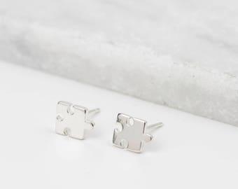 Sterling Silver Jigsaw Earrings • Jigsaw Studs • Puzzle Piece Earrings • Dainty Silver Studs • Jigsaw Stud Earrings • Tiny Silver Studs