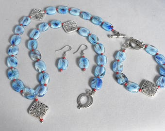 Blue Swirl Glass, Red Seed Beads, 16mm Silver Square Pendant Necklace, Bracelet and Earring Set, Beaded, Jewelry, Gift