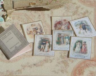 Dollhouse Vintage Jane Austen folder with illustrations. 1:12 Miniature Pride and Prejudice illustations miniature folder