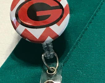 Georgia bulldogs, Georgia badge reel, Bulldogs badge reel, Georgia bulldogs, Nurse badge reel, Badge reel nurse, Badge clip, Badge reel