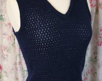 50s Sweater Vest - Dark Blue Junior House Pullover - Wool Mohair - V Neck - British Hong Kong - Jumper - Excellent Condition - Size Medium