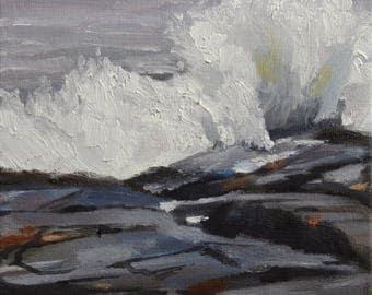 Crashing Surf Oil Painting, Original Coastal Art, Ocean