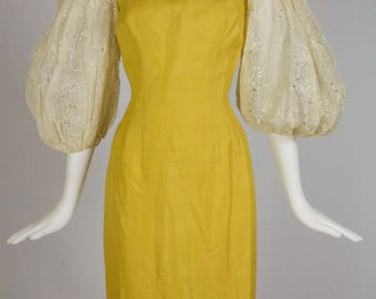 Mr. Blackwell Designer 1950's SunShine Yellow Silk &Embroidered Open-Work Huge Balloon Sleeve Bombshell Wiggle Dress w/Illusion Neckline!