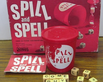 Spill and Spell Dice Word Crosswords Game Parker Brothers 4966 Vintage No Timer