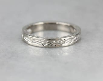 Engraved Patterned White Gold Wedding Band M4839X-R