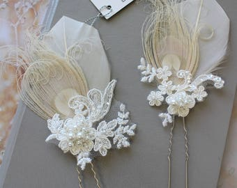 Ivory Champagne Peacock Feather Hair Pin,  Lace  hair pin,  Bridal Headpiece, Wedding  hair piece, Feather Fascinator , Blush Headpiece