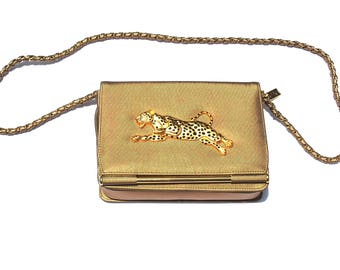 Vintage Purse Handbag Gold Cheetah Leopard  Purse Handbag 80s Nima