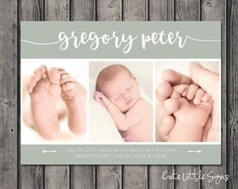 Sage Birth Announcement Photo Collage Digital Download