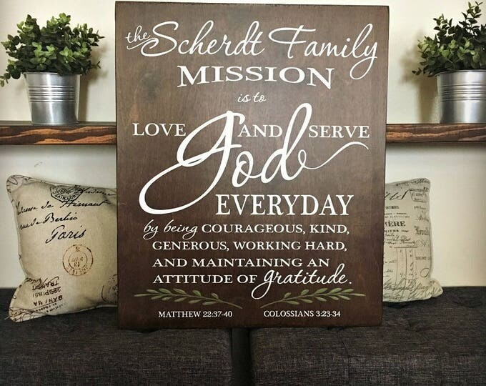 Personalized Family Mission Statement - Large Wood Wall Art - Custom Family Creed Sign