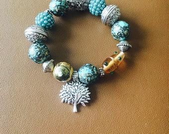 tribal stretch charm bracelet