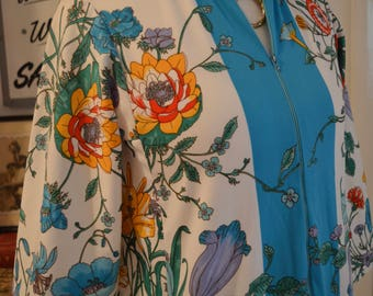 Yummy!!  Absolutely gorgeous vintage 1970s Evelyn Pearson turquoise floral caftan kaftan maxi dress S / M  small medium