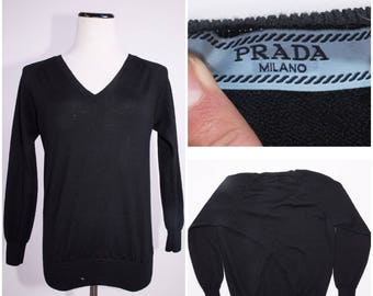 PRADA Women's Black Wool V Neck Sweater