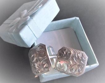 STERLING SILVER CUFFLINKS Carved Silver Cufflinks,Mens Cufflinks,Mens Accessories,Evening Attire,Gift for Men,Jewelry,Men's Formal Cufflinks