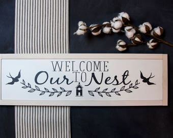 Welcome to Our Nest Wood Sign Wall Decor Farmhouse