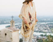 The Fly Like a Butterfly kimono//Beige hand beaded & fringed burnout silk velvet kimono with butterfly.