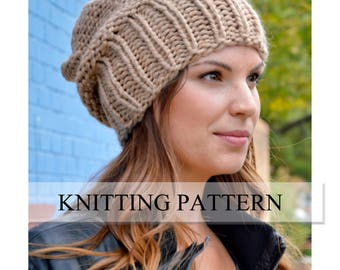 Knit Hat PATTERN, Knitting Pattern Women's Slouchy Sacking Hat Pattern, Women's Slouchy Hat Pattern, Knit Beanie Pattern, Slouchy Beanie