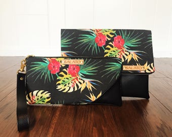 Tropical Print, Fold Over Clutch, Wristlet, Faux Leather Clutch, Vegan Leather Clutch, Leather Wristlet, Bridesmaid Clutch,