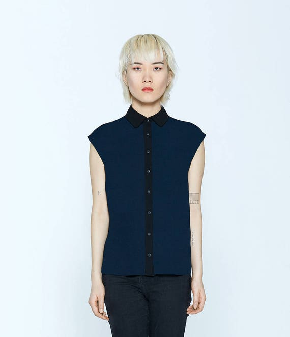 AMOUR NOIR - sleeveless plain shirt, blouse for women - navy blue