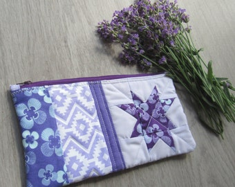 Zipper Pouch (Lavender), Purse Pouch, Quilted Zipper Pouch, Quilted Pencil Case, Quilted Zipper Pouch, Cosmetic Case