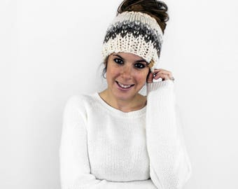 Messy Bun Hat, Knit Ponytail Hat, Pony Tail Headband, Running Hat- Patuxent Ponytail Hat