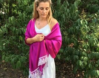 Wedding Shawl, Fuchsia Bridal Shawl, bridal cover up, bridal scarf, Bridesmaid Gift, best seller