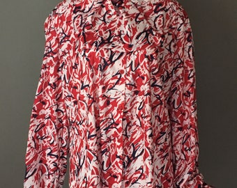 Lovely Vtg 70s Patriotic Top Blouse Long Sleeves Buttons Up Attached Ascot Bow Tie Rare Plus Size Vtg 20 XL