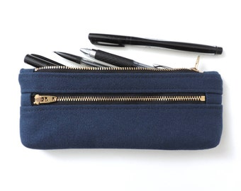 Canvas Pencil Case Double Zipper Pencil Pouch Navy Blue